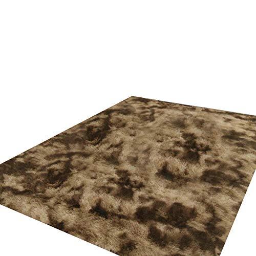 Frolada Alfombra de pelo suave para el hogar, sala de estar, dormitorio, decoración de princesa, cálida manta para el suelo, alfombra para mesita de noche y sofá, café, 40 x 60 cm