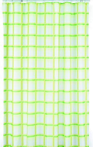 kela Duschvorhang Laneta 180x200cm aus Polyester in grün, 200 x 180 x 0.8 cm