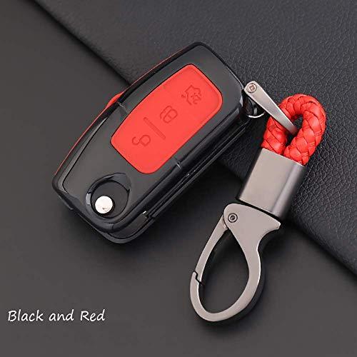 QINGYISE Funda para llavero con soporte para llaves de coche, funda protectora de silicona TPU con llavero y Eacute; S para Ford Fiesta Focus 2 Ecosport Kuga S-Maxnegro / rojo