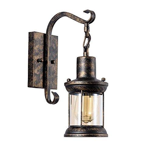COCOL Wandlampe Antik Wandleuchte Vintage Metall Wandlampe Retro Glas Wandlampe Innen für Lanhaus, Dachboden, Terrasse, Restaurant, Café, Wohnzimmer und Studie (Gemalt Mit Öl Gerieben Bronze)