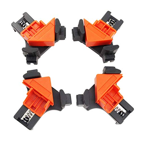 Leadrise 4PCS 90 Degree Corner Clamp, Woodworking Clamps Multifunctional Single Handle Spring Loaded Swing Clip Fixer Welding Clamps for Welding, Wood-Working, Drilling, Making Cabinets