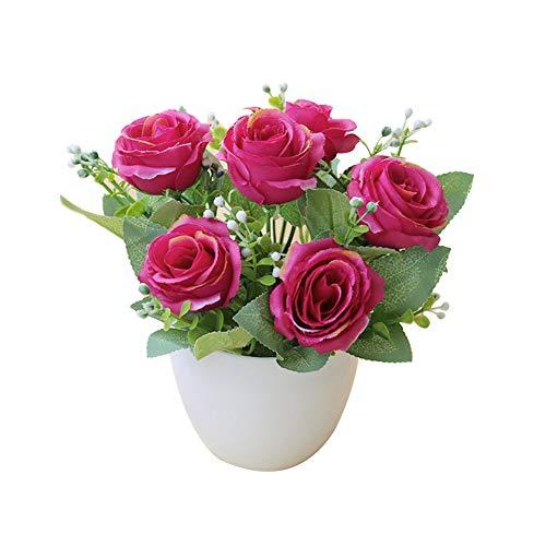 Yosemite - Maceta artificial para bonsái, diseño de rosas artificiales, para decoración de mesa, decoración de mesa rojo vino