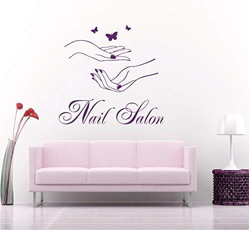 Nail Salon Signe Mur Fenêtre Autocollant Manucure Mains Papillons Salon De Beauté Nail Art Vinyle Autocollant Décor À La Maison Stickers Muraux S108 60 * 56 Cm