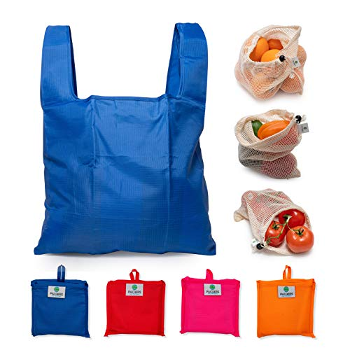 Reusable Grocery Bags set of 4 with 3 sets reusable mesh bags  Reusable Grocery Bags Heavy Duty Ripstop Reusable Shopping BagsWashable Durable and Lightweight
