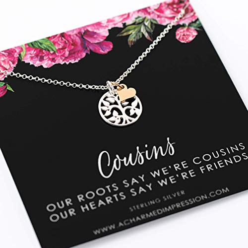 Cousin Gifts for Women ï Gift for Cousin Woman ï Sterling Silver Gold Necklaces for Girls ï Family Tree Unique ï Sister Friends Birthday Gifts ï Personalized Cousin Jewelry ï Meaningful Jewelry
