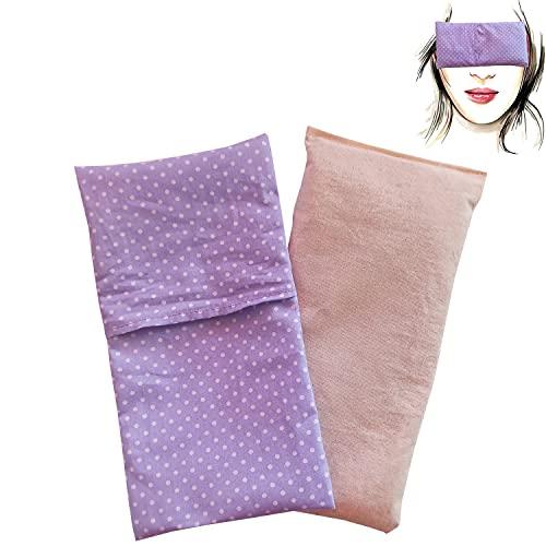 Almohada para los ojos'Lila claro' (1 relleno y 1 fundas lavables)   Semillas de Lavanda y semillas de arroz   Yoga, Meditación, Relajación, descanso de ojos.