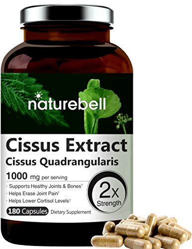NatureBell Cissus Quadrangularis Capsules, 1000mg Per Serving, 180 Capsules, Premium Cissus Capsules, Support Joint, Tendon, Bone, Skin, Hair and Cartilage.