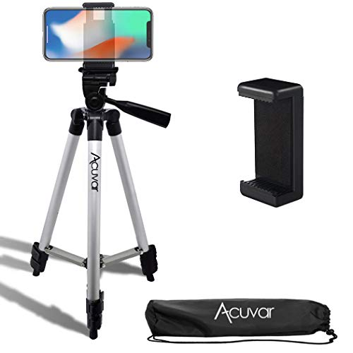 Acuvar 50' Inch Aluminum Camera Tripod with Quick Release + Universal Smartphone Mount for iPhone 12, iPhone 12 Mini, iPhone 12 PRO Max, iPhone 11 Pro, 11 Pro Max, Xs, SE 2, Xr, X, 8, 8+ and Android