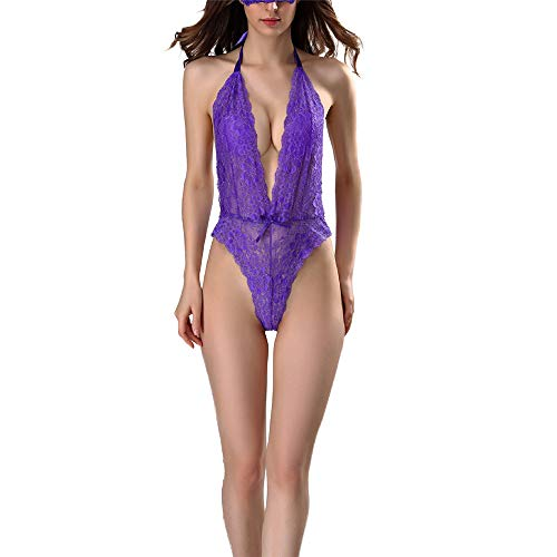 ZHUQI Women's Body Sexy Lingerie Sexy Lingerie Set V-Neck Erotic Lace Babydoll Negligee Nightwear Lingerie Body Lingerie Womens Sexy Bodysuit Deep V-Neck Sexy Lingerie Lace C-Purple S
