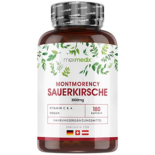 Montmorency Sauerkirsche Kapseln - 3000mg Sauerkirschen 10:1-180 Cherry Kapseln - Natürliche Inhaltsstoffe & Laborgeprüft in Deutschland - Für Veganer & Vegetarier - Kirschextrakt - Von MaxMedix
