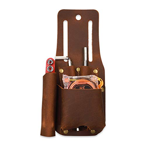 Crazy Horse Leather Tape Holder, Measure Pouch, Knife Tool Holster, Versatile Tool Holster, Lightweight and Compact, 4 Slots