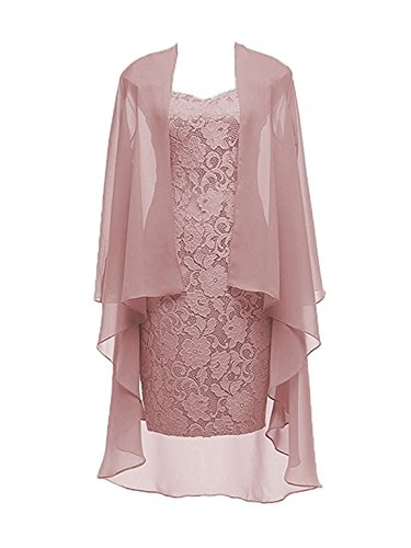 2 Pieces Dusty Pink Lace Mother of The Bride Dress with Jacket Formal Evening Dresses Size 16