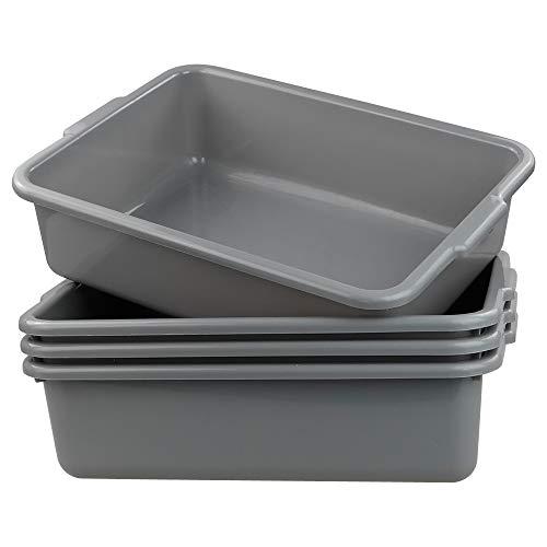 22 x 15 3//4 x 7 Plastic Bus Tub Pack of 24 Gray Polyethylene Commercial Bus Box Plastic Storage