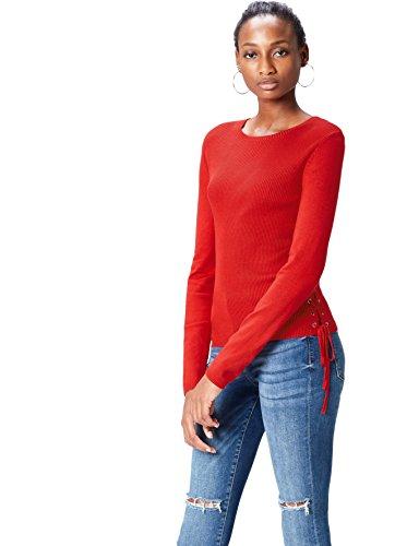 find. Tie-Up Side Suéter para Mujer, Rojo (Classic Red), 40 (Talla del Fabricante: Medium)