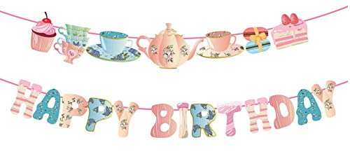 Qpout Tea Happy Birthday Banner Hanging Garland Lets Par Tea Teapot and Teacup Birthday Banner for Alice in Wonderland Tea Party Decorations Birthday Party Favor Supplies Photo Booth Backdrop