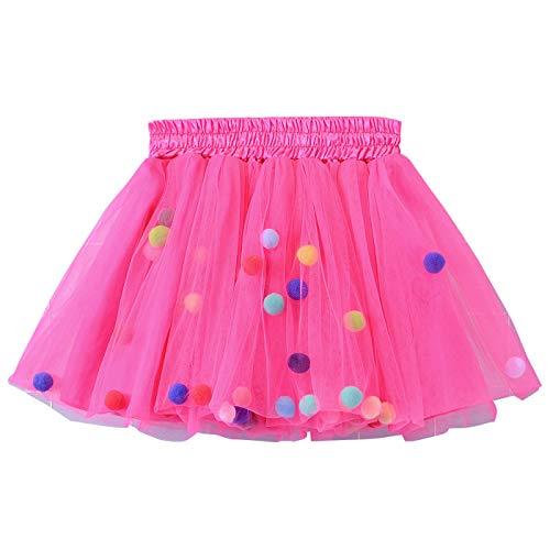 Happy Cherry - Tutú Faldas Prenda de Disfraz Enaguas con 4 Capas Tul para Niñas 5-6 años Color Magenta - Talla L