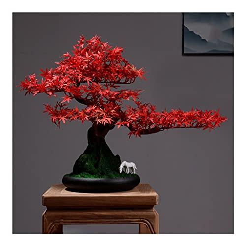 OMING Bonsáis Árbol Artificial Bonsai Oficina de la Oficina Artificial decoración de la Hoja de cerámica Musgo Artificial Musgo Adecuado para la Sala de Estar del hogar Árbol Bonsai (Size : A)