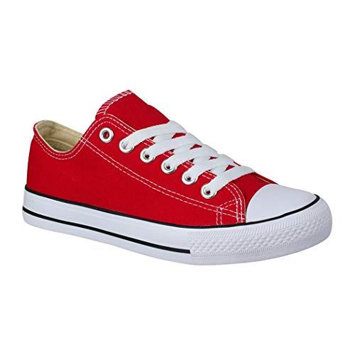 Elara Damen Herren Sneaker sportlich Chunkyrayan Red-40