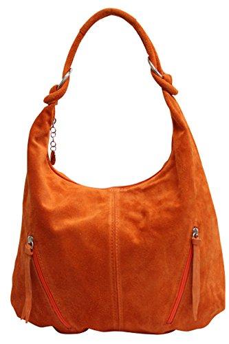 La bolsa de asas de cuero de las mujeres Bolso de gamuza Bolso de hombro Bolso de compartimiento Shopper grande WL822 (naranja)