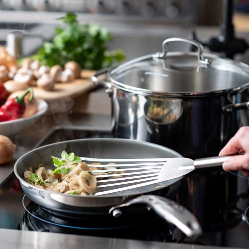 GreenChef Frying Pan, Non Stick Stainless Steel Ceramic Cookware - Induction & Oven Safe Cookware - 28 cm, Silver Main Image