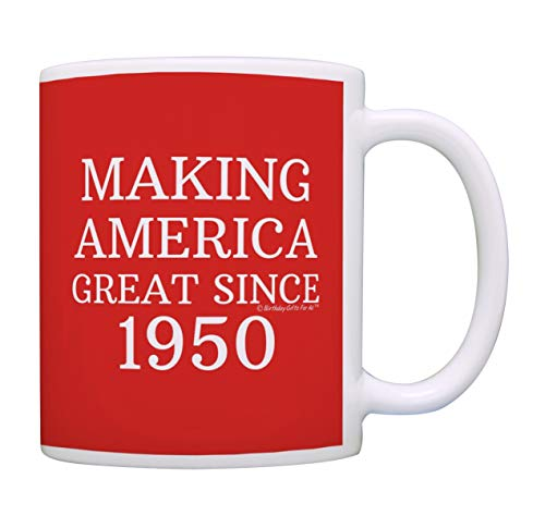 Image of the 70th Birthday Gifts For All Making America Great Since 1950 Birthday Mug Birthday Gifts Coffee Mug Tea Cup Red