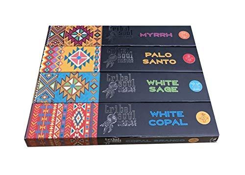 Incienso Tribal Soul - Surtido - Myrrh - Palo Santo - White Sage - White Copal - 4 Cajas x 15g -