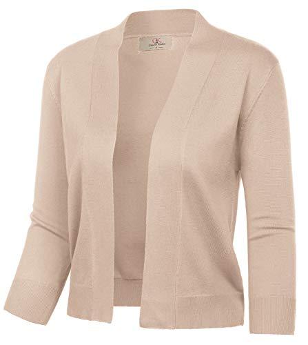 GRACE KARIN Women's Khaki Shrug Cardigan Knit Sweaters Lightweight Cropped Bolero Jacket (Khaki,M)