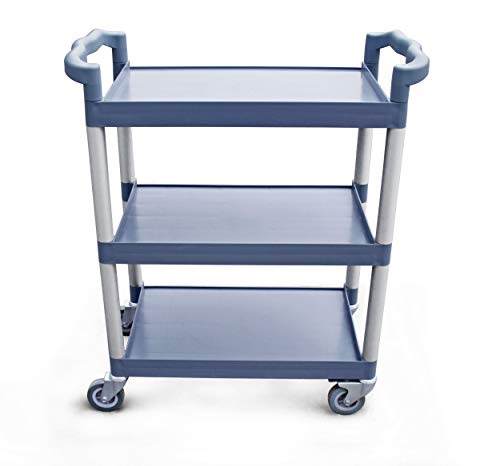 New Star Foodservice 54569 350-Pound Plastic 3-Tier Utility Bus Cart with Locking Casters,...