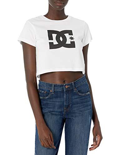 DC Star Crop tee Camisa, Blanco, S para Mujer