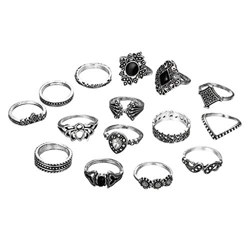 15Pcs Rose Knuckle Stacking Rings for Women Engagement Rings Creative Adjustable Personalized Ring Women's Accessories Weedding Rings Valentine's Day Present(One Size,Multicolor)