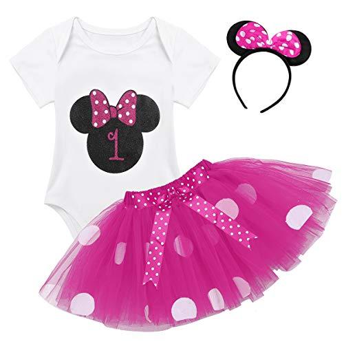TiaoBug Baby Mädchen Kleidung Set Kleider Baumwolle Strampler Prinzessin Kostüm Neugeborene Polka Dots Tutu Kleid mit Haarreif Rose mit 1 68-80