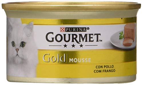 Purina Gourmet Gold Mousse Comida para Gatos con Pollo, 24 x 85 gr ✅