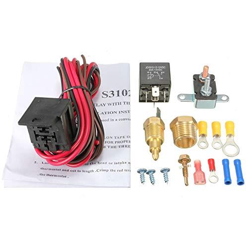 Wyfan Termostato De Refrigeración del Motor De Grado Sensor De Interruptor De Temperatura 12V 5 Pines Kit De Relé (Color : 200 185)
