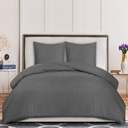 Utopia Bedding Bettwäsche-Set - Mikrofaser Bettbezug 200x200 cm und 2 Kopfkissenbezüge 80x80 cm - Grau Bettbezüge Set mit Reißverschluss