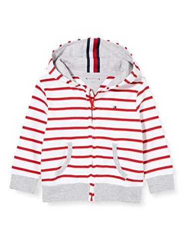 Tommy Hilfiger Unisex Baby Stripe Zip Hoodie Kapuzenpullover, Weiß (White Yaf), One Size (Herstellergröße: 86)