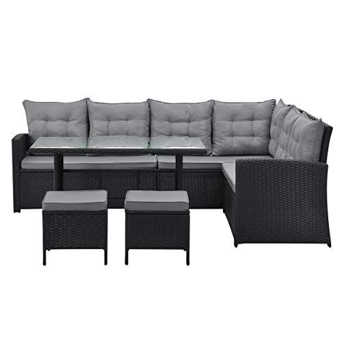SVITA Monroe Polyrattan Ecksofa Rattan-Lounge Esstisch Gartenmöbel-Set Sofa Garnitur Couch-Eck (Lounge Set, Schwarz) - 2