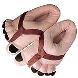 YXX Zapatillas De Casa para Hombre Mujer Cómodas Babuchas Afelpadas Divertidos Cinco Dedos del Pie Suela Flexible Antideslizante,Marrón,22.5cm to 24.5cm