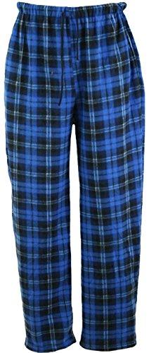 i-Smalls Herren Klassischer Karierter Polar Unterteil Pyjama Fleece Flausch Hausanzughose Schlafanzughose Nachtanzug (Blau) L