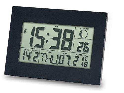 Meteo Reloj DCF con Despertador, Fechador, Termometro, Pantalla Grande ZP24 para Pared o Escritorio, Color Negro