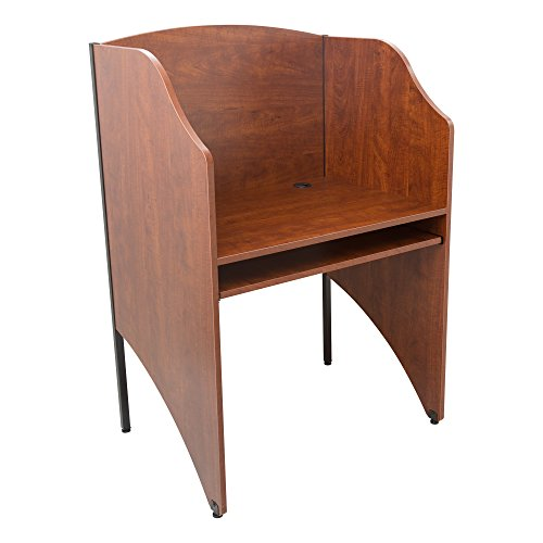Norwood Commercial Furniture Single-Sided Study Carrel- Starter Unit- Cherry
