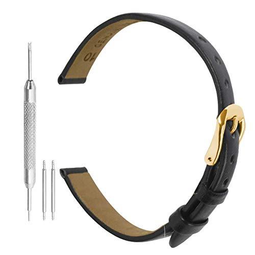 Correa De Reloj 8mm Negro Reloj Correa De Cuero Genuino Reloj De Cuero Cinturón De Correa De Banda