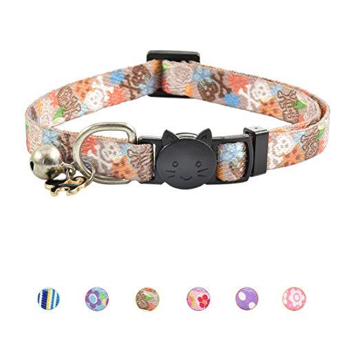 XPangle Katzenhalsband mit Glöckchen, für Katzenwelpen, verstellbar, 19,8-30 cm, 7.8-11.8in, braun