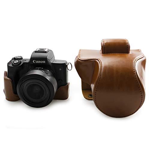 Canon EOS M50, kinokoo Estuche Completo para Canon EOS M50 y Lente de 15-45 mm, Estuche Protector de la Funda de Cuero de la PU (marrón)