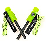 Swiss Safe 5-in-1 Fire Starter with Compass, Paracord and Whistle (2-Pack) for Emergency Surviv…