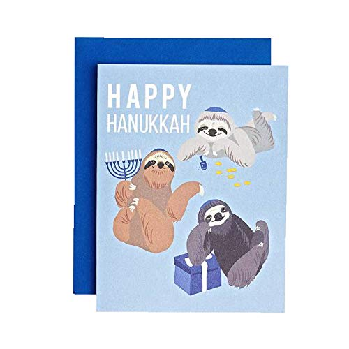 Happy Hanukkah Sloths 4.25' x 5.5' Chanukah Holiday Greeting Card & Envelope