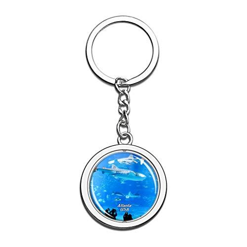 Hqiyaols Keychain USA Amerika Georgia Aquarium Atlanta Kristall Drehen Rostfreier Stahl Schlüsselbund Reisen Stadt Andenken Schlüsselring