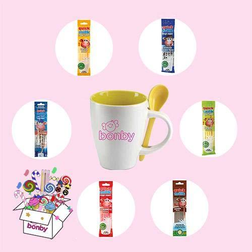 Bonby Box n. 40 Confezioni Cannucce per Latte con Tazza Omaggio (totale 200 pz)