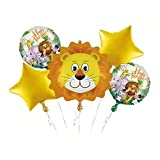 Hongkai Animal Theme Lion Head Set with Aluminum Foil Balloon for Baby Kids Birthday Happy Birthday Party Baby Shower Anniversary Wedding Party Decorations Supplie