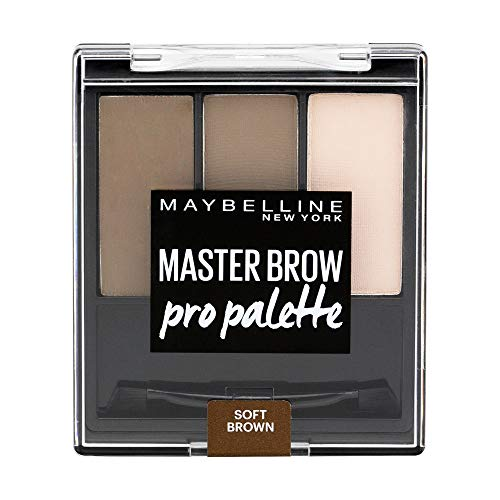 Maybelline New York Master Brow Pro Palette Soft Brown, Palette mit Augenbrauenpuder, formgebendes Wachs, Highlighter