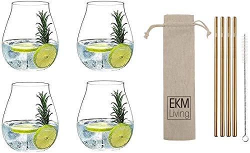 RIEDEL 5414/67 Gin Tonic Gläser Set 4 Stück, Cocktailglas, Wassergläser + Gratis RKM Living Edelstahl Trinkhalme Kupfer